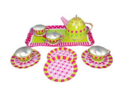 Cute Print Play Tea Set for Kid Tin Tea Set Tulip