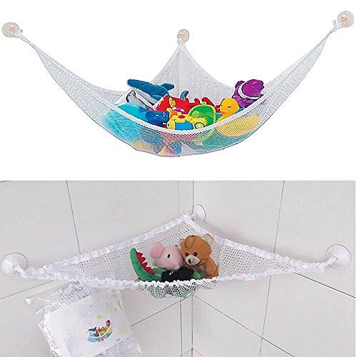 Large Size Toy Storage Net Hammock Organizer for Stuffed Jumbo Animals - White