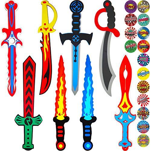 Funtoga 16 or 8 Foam Toy Swords  Masks for Kids Ninja Pirate Weapon Party Bulk Set  Superhero Stickers 8 Swords