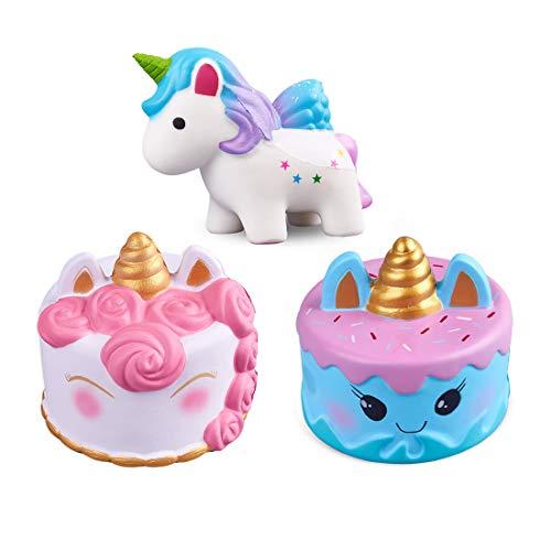 ModFL Jumbo Unicorn Cake Slow Rising Squishies Kawaii Cream Scent Kids Party Toys Pack of 3