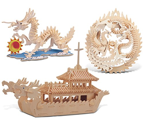 Puzzled Dragon Lucky Dragon Phoenix and Dragon Boat Wooden 3D Puzzle Construction Kit