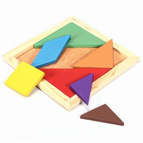 Acekid Children Rainbow Color Wooden Tangram 7 Piece Puzzle Tangram Educational Jigsaw Puzzle Toys