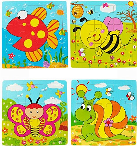 HLDIY Cartoon animal baby jigsaw Board puzzles Educational toy Wooden Toys