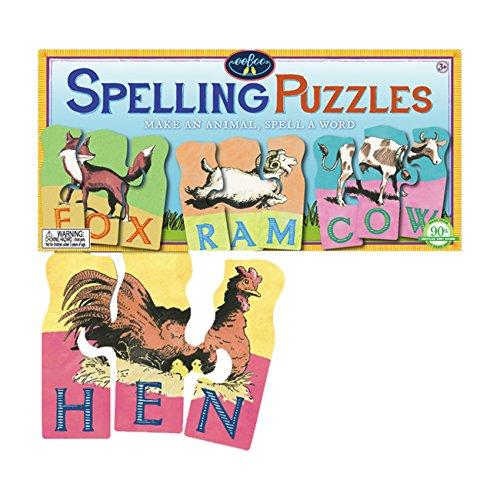 eeBoo Animal Spelling 3 Piece Puzzles