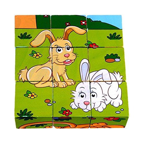 DDTOP 6 Patterns 3D Cube Wooden Animal Zebra Lion Block Jigsaw Elephant Rhinocero Tiger Rabbit Wood Training Imagination Toy Puzzle