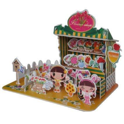Sidiou Group Merry Puzzle 3D Puzzle Flower Shop Theme Form Board