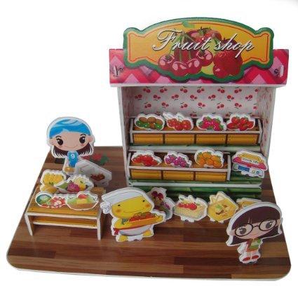 Sidiou Group Merry Puzzle 3D Puzzle Fruit Shop Theme Form Board