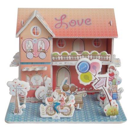 Sidiou Group Merry Puzzle 3D Puzzle Romantic House Theme Form Board