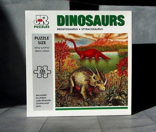 JR Dinosaurs Puzzle 120 pc 11-12x 11-12 BrontosaurusStyracosaurus