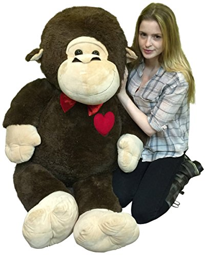 Giant Valentines Day Stuffed Monkey 60 Inch Soft 5 Foot Plush Ape Heart on Chest to Express Love