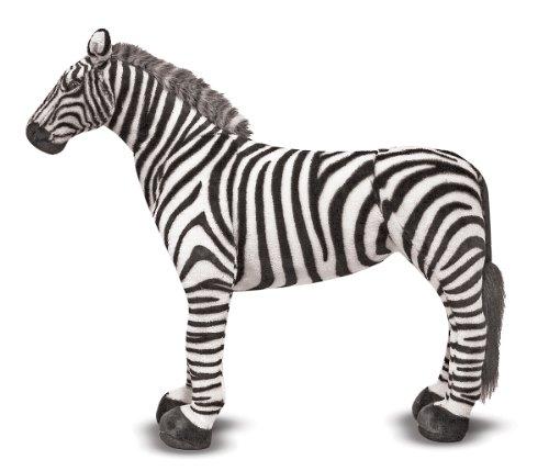 Melissa Doug Giant Striped Zebra - Lifelike Stuffed Animal nearly 3 feet tall
