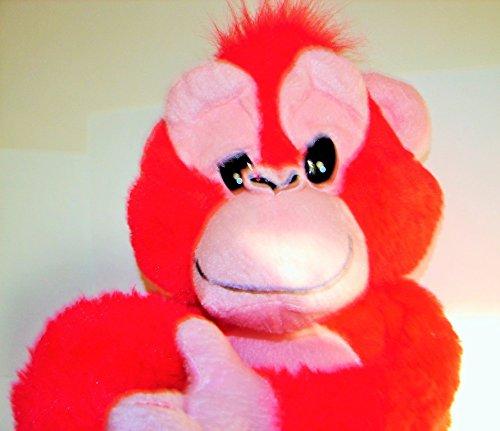 Bright Salmon ORANGE PINK MONKEY GORILLA Stuffed Animal Plush Toy 2 Feet Tall