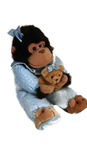Nitey Nite Gorilla Stuffed Animal in Pajamas Holding Teddy Bear- Plush