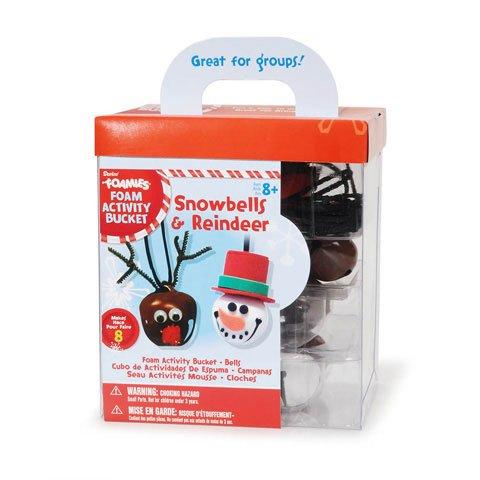 8 Foamies Snowbells and Reindeer Bell Necklace Foam Christmas Craft Activity Bucket Kit