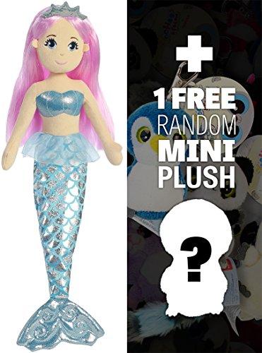 Crystal ~18 Sea Sparkles - Sea Shimmers Mermaid Plush Doll Series  1 FREE Aurora Mini-Plush Charm Bundle 330856