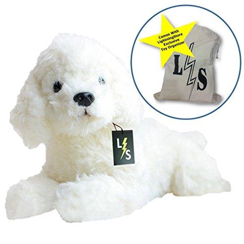 LightningStore Adorable Cute Sleeping Lying White Poodle Stuffed Animal Doll Realistic Looking Plush Toys Plushie Childrens Gifts Animals  Toy Organizer Bag Bundle