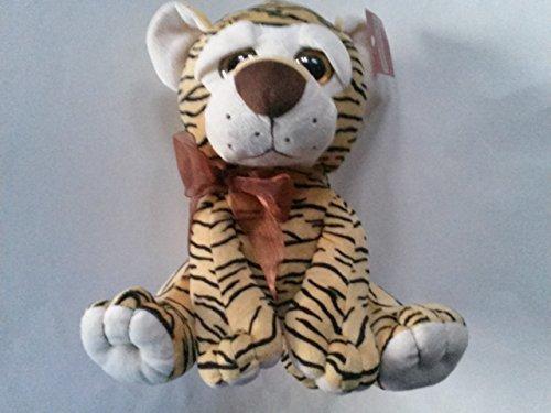 Baby Tiger Plush Toy 11 x 7 Yellow Black Stripes Brown Organza Bow