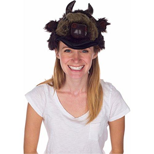 Rittle Furry Buffalo Bison Animal Hat Realistic Plush Costume Headwear 1 Size
