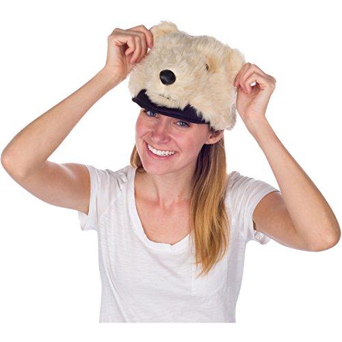 Rittle Furry Polar Bear Animal Hat Realistic Plush Costume Headwear - One Size
