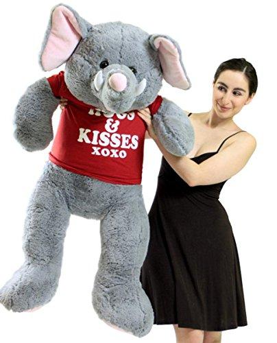 5 Foot Giant Stuffed Elephant 60 Inch with Pink Ears Big Plush Soft Stuffed Animal Wears Tshirt Hugs And Kisses