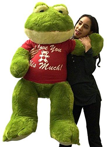 Giant Stuffed Frog Wears I Love You This Much Tshirt 48 Inch Soft Big Plush Romantic Amphibian