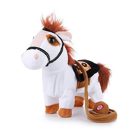 GCCLCF Walking Horse Plush Toys Battery Powered Stuffed Animal Kids Christmas Xmas GiftWhite