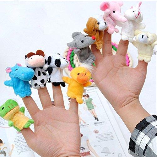 Dimart 10 Pcs Animal Finger Puppet Set Cartoon Zoo Animal Toys for Bed Story tell