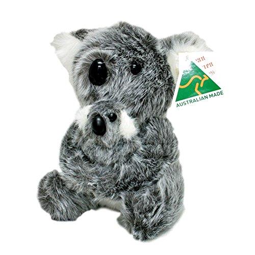 Australian Made Koala With Joey Sitting Stuffed Animal Plush Toy Medium Grey