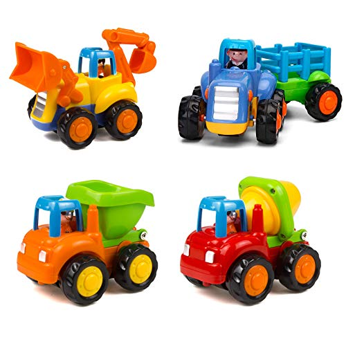 Friction Powered Cars Push and Go Trucks Construction Vehicles Toys Set of Tractor Bulldozer Dump Truck Cement Mixer for 1 2 3 Year Old Baby Toddlers Infants Boys Gifts