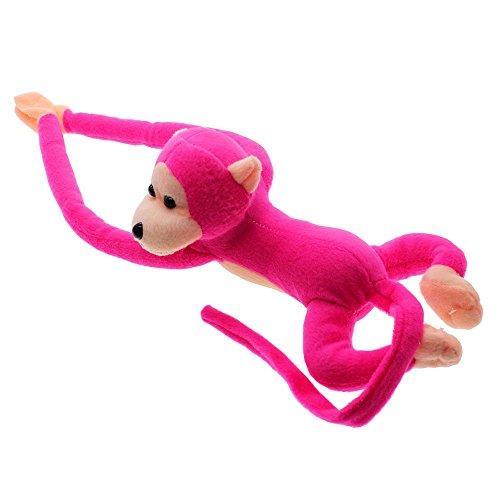 Soft Hanging Plush Monkey Gibbon Long Arm Tail Animals Toy Gift Curtains Holder - Peach