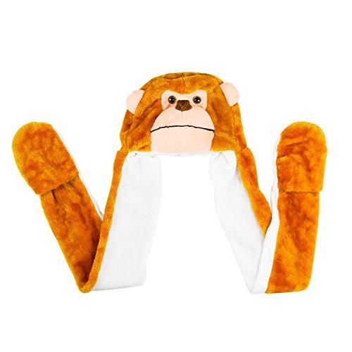 Monkey Cute Polyester Plush Zoo Animal Winter Hat Beanie Aviator Style Long