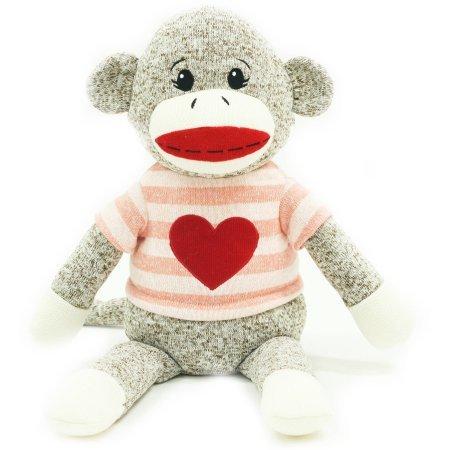 Valentine 14 Sock Monkey Plush Toy Pink Stripe