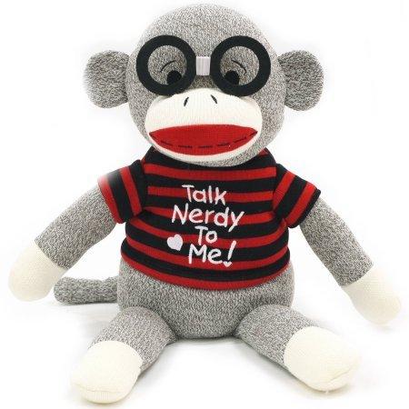 Valentine 14 Sock Monkey Plush Toy RedBlack Stripe