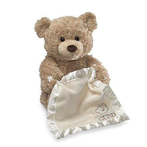 Gund Soft Teddy Bear That Plays Peek-A-Boo Creme