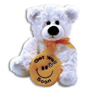 Plush Get Well Soon BEAR ~ 10 Inch Feel Better Bear with a smiley face ~ Soft Teddy Bear Hug Pillow ILLNESSSick CHILDCHEER UPSurgery