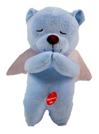 Prayer Angel Bear Soft Teddy Plush Recites Angel De La Guarda in Spanish Blue 85 Inch