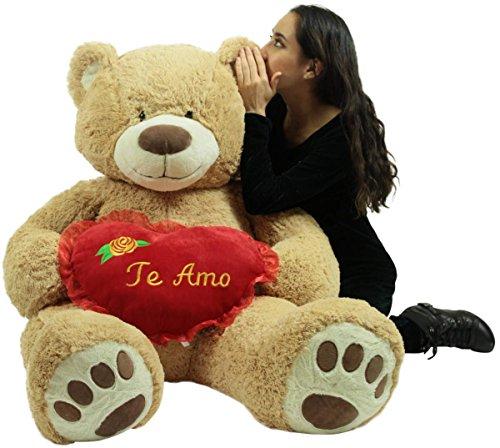 Te Amo Giant Teddy Bear 5 Foot Soft Teddybear Romantic Holds Heart Pillow to Show Love