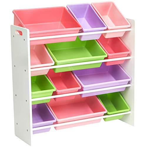 AmazonBasics Kids Toy Storage Organizer Bins - WhitePastel