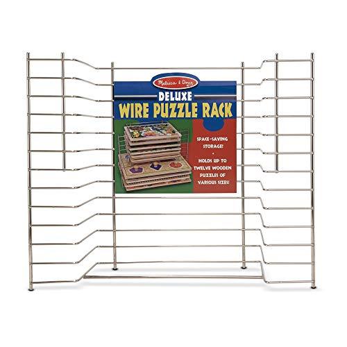 Melissa Doug Deluxe Wire Puzzle Storage Rack Sturdy Metal Construction Pre-assembled Wooden Puzzle Storage 165 H x 132 W x 82 L