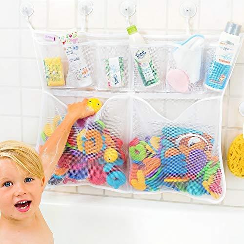 Tub Cubby Bath Toy Organizer - Large 23x30 Mold Resistant Mesh Net 6 Divider Bins - Kids Bathtub Shower Caddy Storage Set 10 Suction Sticker Hooks