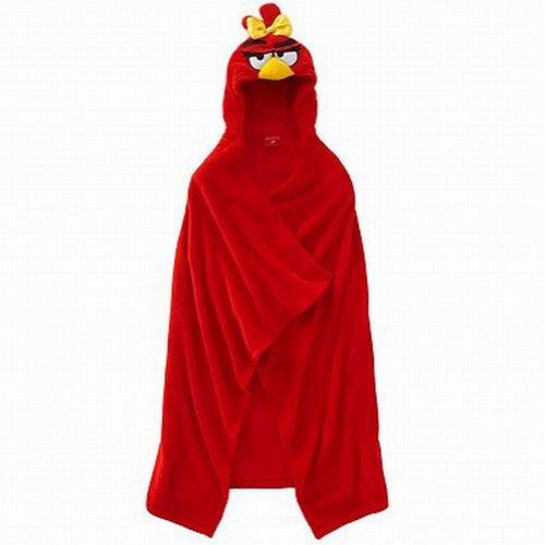 Rovio Red Girl Angry Birds Wrappie Kids Hooded Wrap Microplush Throw Blanket