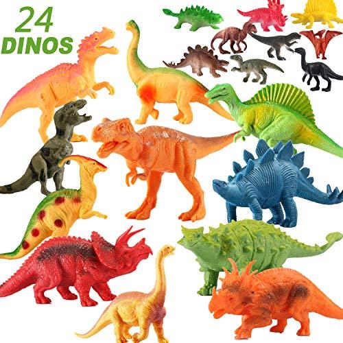 EIAIA Dinosaur Toys for Boys Girls - 24 Pack Educational Dinosaur Family Includes 12 Large 7 12 Mini 2 Realistic Dinosaur Figures Best Toys Gift for Kids