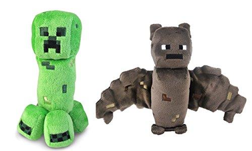Minecraft Creeper and Bat Plush Set 8 Inches