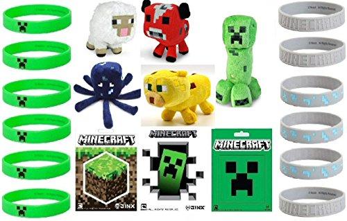 Minecraft Party Favor Lot - 40 Pieces - Plush Stickers Bracelets Gift Bags