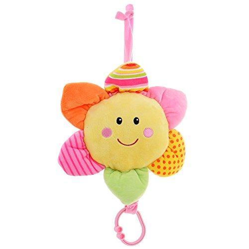 GIFTSHOP101 12 Take Along Smiling Sun Flower Lullaby Baby Pull String Musical Plush Baby Toy - Pink