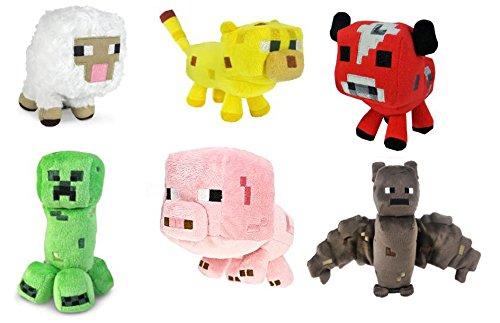 Minecraft Animal Plush Set of 6 Sheep Bat Ocelot Mooshroom Pig Creeper 6- 8 Inches