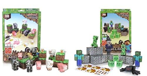 Minecraft Papercraft Hostile Mobs and Animal Mobs Set
