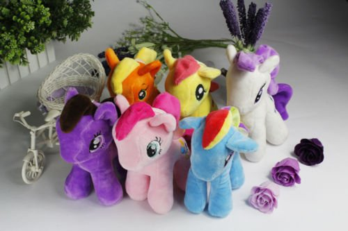 6pcsSet 9 My Little Pony Plush Toy Soft Doll Rainbow Dash Rarity Applejack