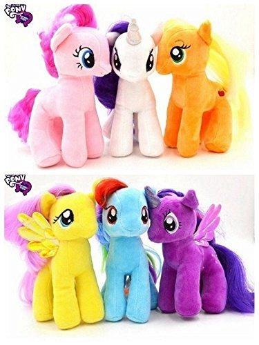 7 Inch My Little Pony Plush Toy Soft Doll Rainbow Dash Rarity Applejack-6pcsset
