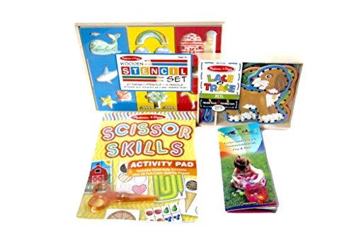 Melissa Doug Fine Motor Learning Education Toy Bundle Lace Trace Scissor Activities Ages 4